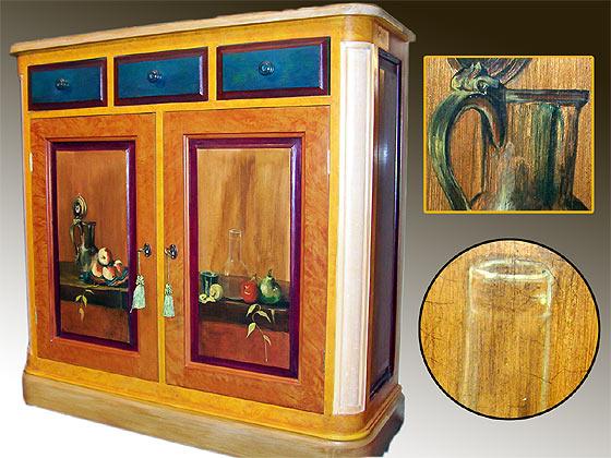 Meuble peint buffet chardin for Cirer un meuble peint